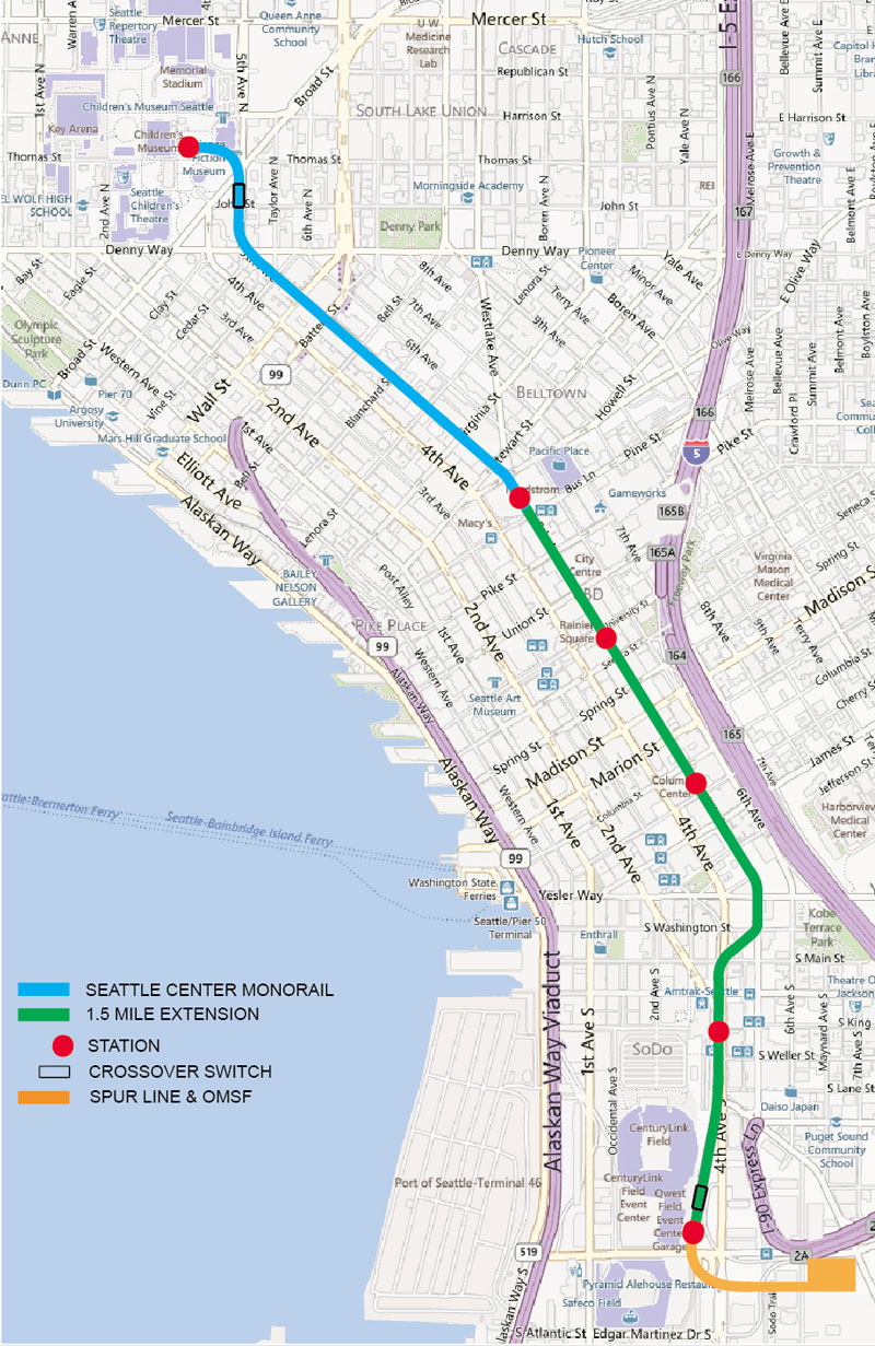 seattle  mile map. seattle  mile extension editorial